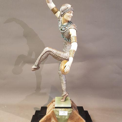 CHIPARUS D.H, «Danseur russe», sujet chryséléphantin en ivoire, bronze argent…