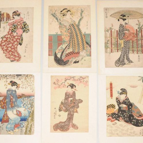 Lot: 6 Farbholzschnitte Japan, 19th century. A sheet by Utagawa Toyokuni: repres…