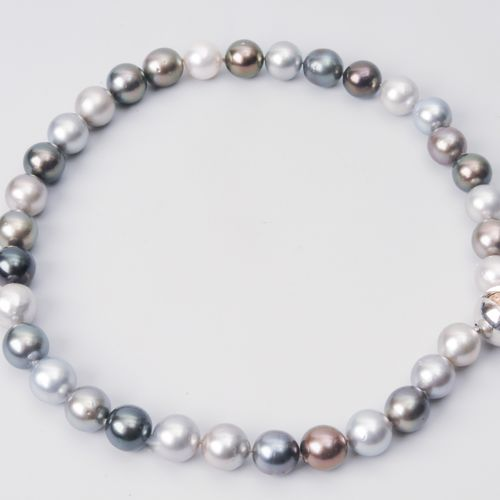 Kulturperlen Collier 750 rouge/blanc or. 33 perles des mers du Sud 12 13 mm Ø. N…