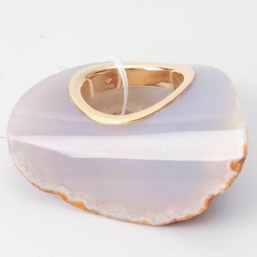 Achat Ring Or jaune 750. Bague en pierre d'agate, un côté laissé brut, l'autre a…