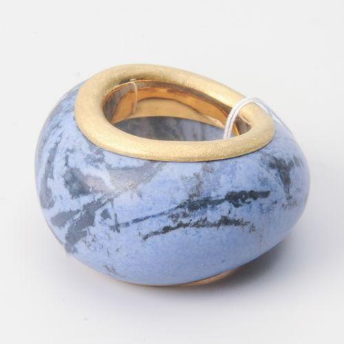 Dumortierit Ring Or blanc 750, mat. Bague en pierre de Dumortierite en serti or,…