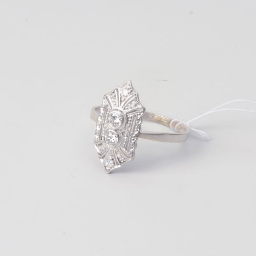 DIAMANT RING 1er s. 20e s. 585 or blanc. 2 diamants taille ancienne 0,22 ct H/I …