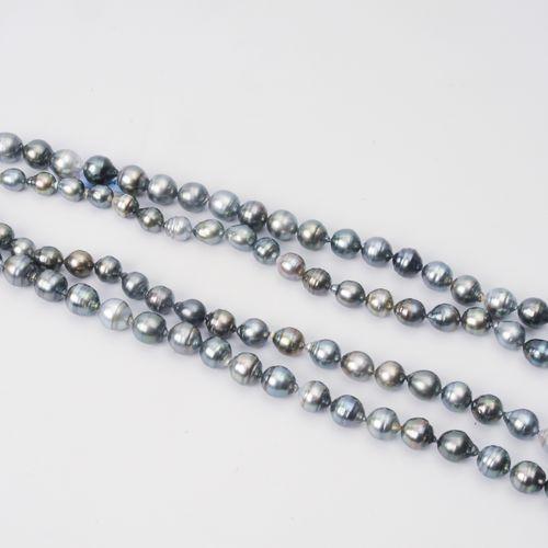 Kulturperlen Collier Argent 925. Perles de Tahiti de forme légèrement ovale à go…