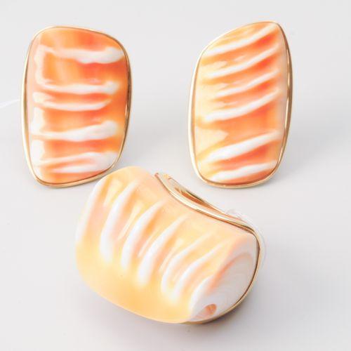 Set: Muschel Ring und Ohrclips Or jaune 750. Pièces fantaisistes en forme de coq…