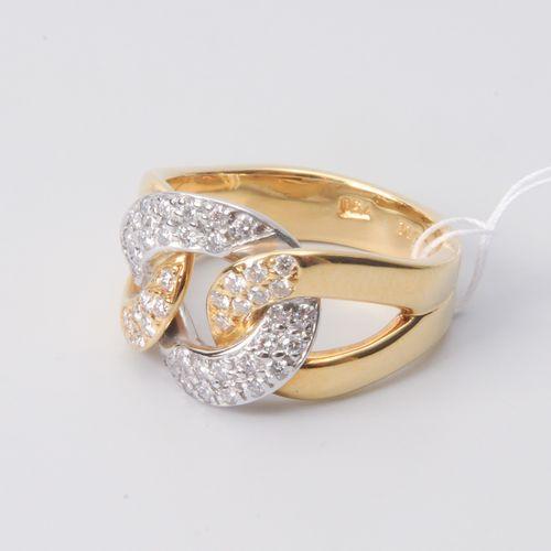 *Brillant Ring Maître bijoutier. Zurich, 2008. Or jaune 750. 44 diamants 0,53 ct…
