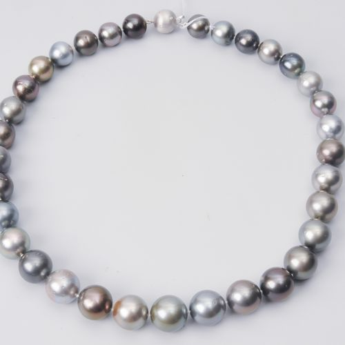 *Kulturperlen Brillant Collier Or blanc 750. Perles de Tahiti 11.5 14.1 mm Ø. No…