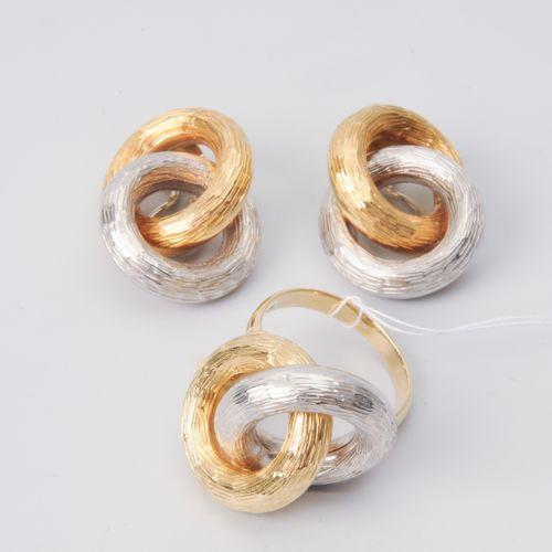 Set: Gold Ohrclips und Ring Or jaune/blanc 750, mat. Boucles d'oreilles 2,6x2 cm…