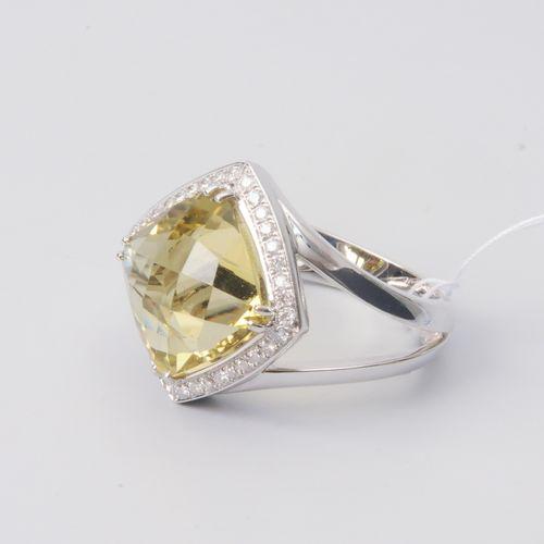 Lemonquarz Ring Or blanc 750. Quartz citron d'environ 6 ct, 36 diamants taille b…