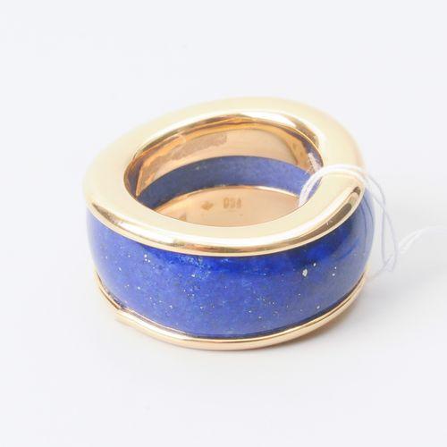 Lapis Lazuli Ring Or jaune 750. Bague étroite en lapis dans une monture en or, l…
