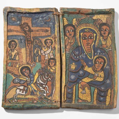 Diptychon Dittico  Etiopia, XIX secolo, pittura colorata su fondo di gesso su 2 …