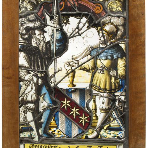 """Wappenscheibe """"Grancourtt 1573"""" Disque armorié """"Grancourtt 1573  Suisse, Fribour…"""