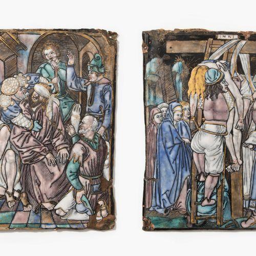 Lot: 2 Email Plaketten 拍品:2块搪瓷牌匾  法国,利摩日,16/17世纪。铜上的多色画家珐琅与部分黄金装饰,鲑鱼反珐琅。基督受难记》中的…