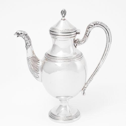 Kaffeekanne Cafetera  Lombardo Veneto, 1810 15, plata. Cuerpo ovoide sobre pie r…