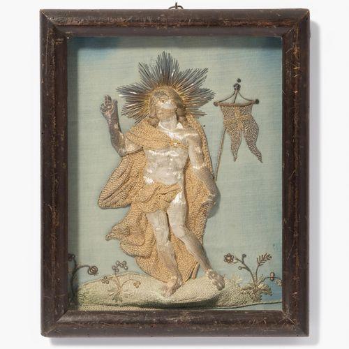"Klosterarbeit ""Auferstehungs Christus"" 寺院作品《复活的基督》。  阿尔卑斯山,约1800年。 在浅蓝色的丝绸地面上,用银…"