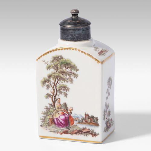 Zürich, Teedose Zúrich, Cadillac de té  Porcelana, alrededor de 1770. Fondo sin …