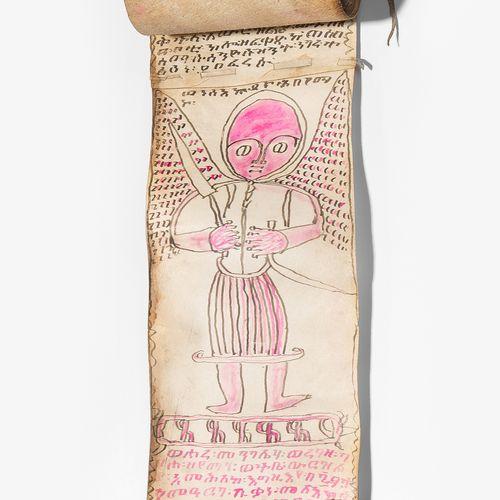 Schutzrolle Pergamino de protección  Etiopía, siglo XIX. Tinta negra y rosa sobr…