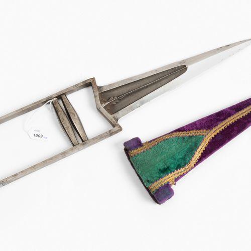 Dolch, Katar Dagger, Qatar  Inde, 19ème siècle. Poignée en fer typique avec deux…