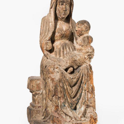 Thronende Maria mit Kind 带着孩子的登峰造极的玛丽亚  法国/西班牙,16/17世纪。 木雕,多色设置的最小遗迹。玛丽坐在宝座的长椅上,…