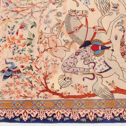 Isfahan Isfahan  Z Persia, c. 1960. Velours de laine de liège, chaîne en soie pu…