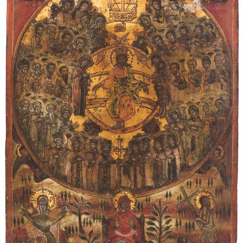 Synaxis der Heiligen Sinassi dei Santi  Greco, 1800 circa. Tempera su fondo di g…