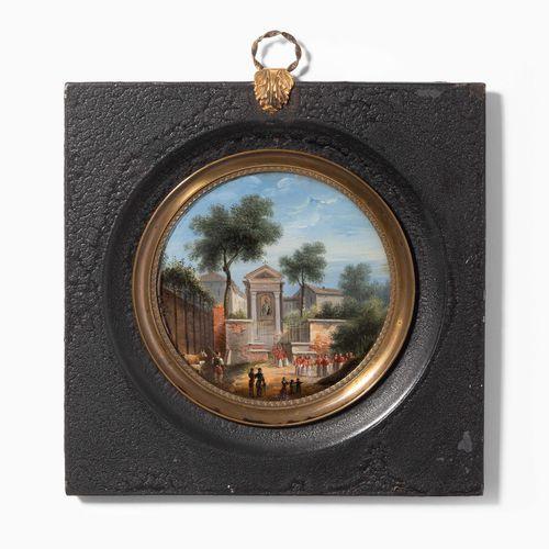 Miniaturmalerei Peinture miniature  Vers 1800, peinture inversée sur verre, rond…