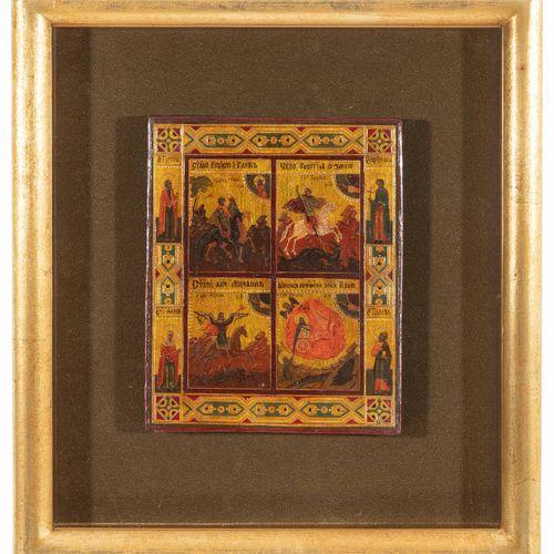 Viergeteilte Ikone Viergeteilte Ikone  Russisch, Ende 19.Jh. Tempera über Kreide…