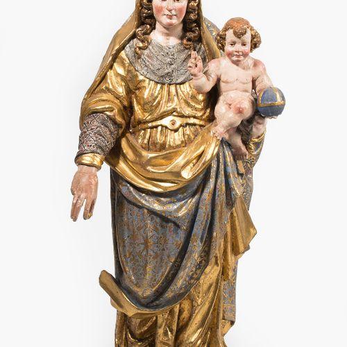 MARIA MIT KIND Maria mit Kind  Süditalien, um 1700, Fassung 19.Jh. Holz geschnit…