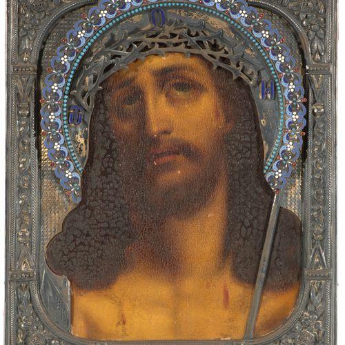 Dornengekrönter Christus mit emaillierter Silberbasma Cristo coronado de espinas…