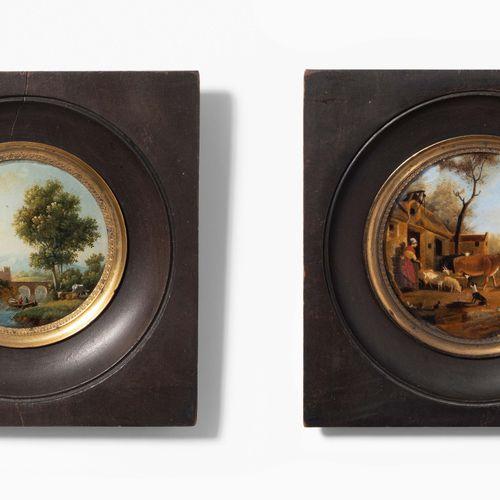 Lot: 2 Miniaturmalereien Lotto: 2 dipinti in miniatura  Pittura inversa del 19° …