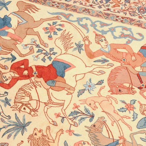 """Isfahan Seirafian 伊斯法罕 塞拉菲安  Z Persia,约1960年。 丝绸项链,绒毛材料为软木羊毛和丝绸。底部中央有签名:""""伊朗,伊斯法罕…"""