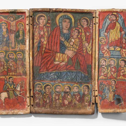 Triptychon Tríptico  Etiopía, siglo XVI. Pintura coloreada sobre fondo de tiza s…