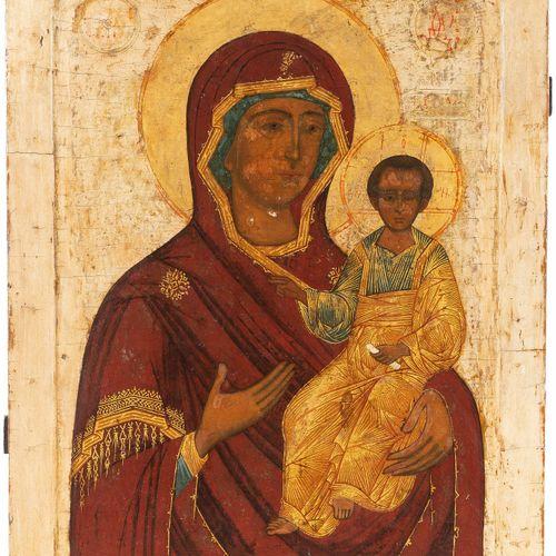 Gottesmutter Hodegetria 天主之母Hodegetria  俄罗斯,18世纪,木板上的粉笔画。在凹陷的领域中,描绘了天主之母用左臂抱着祝福的…