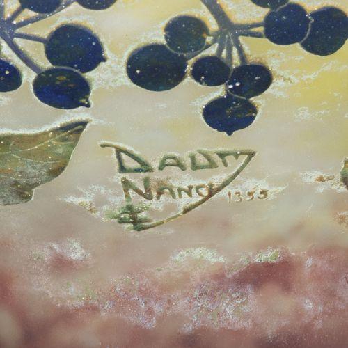 """Daum Frères, Fussschale Daum Frères,脚盆  南希,约1910年。 高度蚀刻的签名:""""DAUM NANCY with Lorr…"""