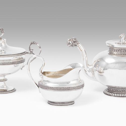 Teeservice, Bern Servicio de té, Berna  Alrededor de 1820, plata, 3 piezas. Tall…