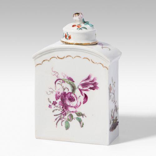 Teedose mit Hausmalerei Teedose mit Hausmalerei  Deutschland, Mitte 18.Jh. Porze…