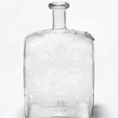 Vierkantflasche Bouteille carrée  Allemand, 2e moitié du 18e siècle. Verre incol…