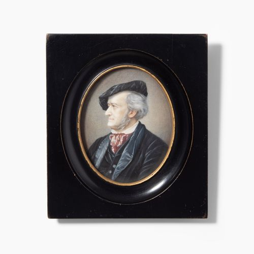 Miniaturporträt Miniaturporträt  Um 1870. Gouachemalerei auf Elfenbein, oval. Ri…