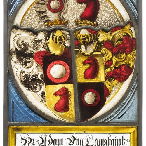 "Fragmentscheibe ""Pertelstain 1582"" 碎片盘 ""Pertelstain 1582""。  施蒂利亚州,日期为1582年,有少量补充…"