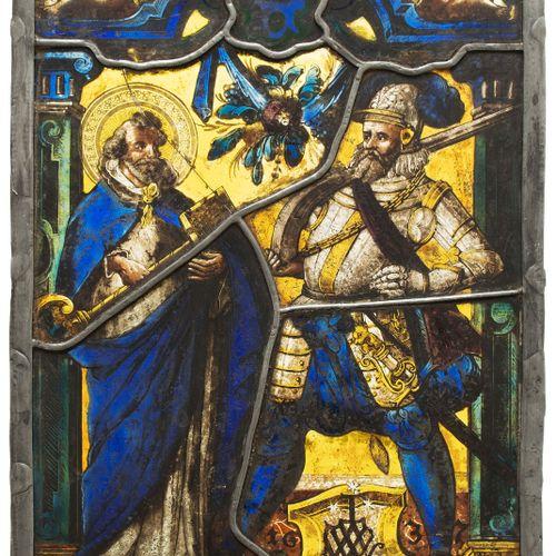 """Bildscheibe """"Hl. Petrus und Wappen Pierre Massy"""" San Pietro e lo stemma di Pierr…"""
