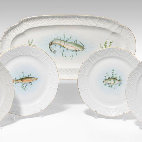 Herend, Fischservice Herend, servizio di pesce  Porcellana, dopo il 1945. Osier.…