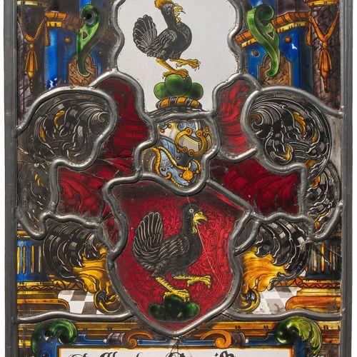 "Wappenscheibe 纹章盘 ""Abraham Hänni 1666  瑞士,20世纪初,根据17世纪的模型。 彩色和无色玻璃,部分蚀刻,黑色焊料和银黄色…"