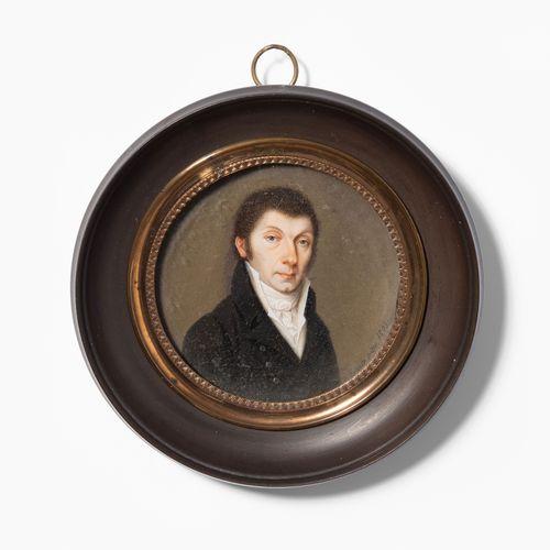 Porträtminiatur Porträtminiatur  Datiert 1809. Gouachemalerei auf Elfenbein, run…