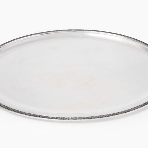 Grosses Henkeltablett Grosses Henkeltablett  Italien, 20.Jh. Silber. Ovale Form …