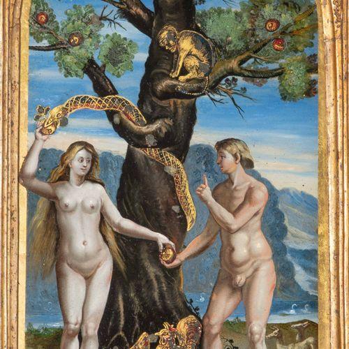 """Hinterglasbild """"Sündenfall"""" 背面玻璃画 """"人类的堕落  意大利,可能是威尼斯,17世纪。 玻璃后面的多色画和eglomisé。高长方…"""
