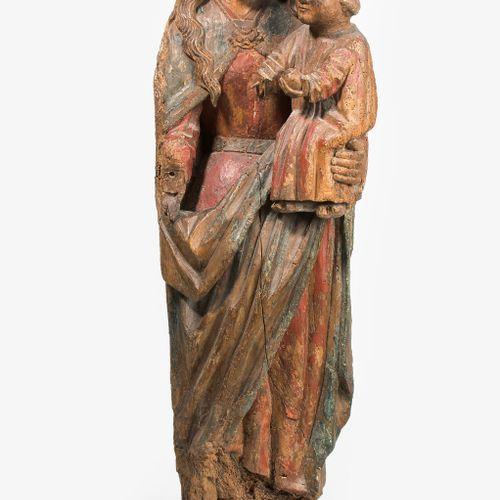 MARIA MIT KIND Maria mit Kind  Südfrankreich/Nordspanien, um 1600. Holz geschnit…
