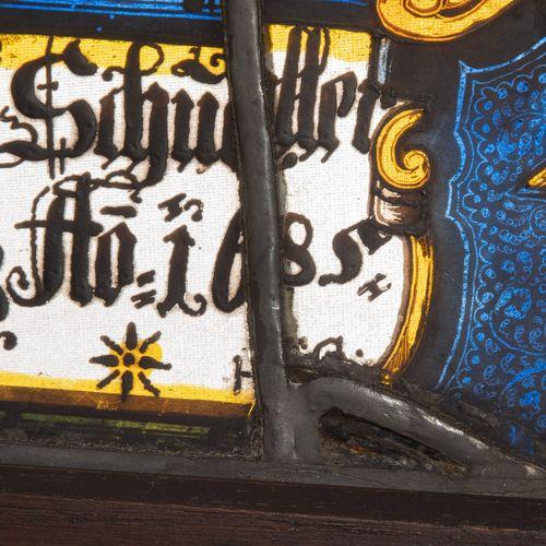 """Wappenscheibe """"Hans Martin Schuler 1685"""" Disco del escudo """"Hans Martin Schuler 1…"""