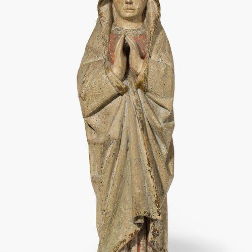 Trauernde Maria Marie en deuil  Bois sculpté, restes minimes d'un décor polychro…
