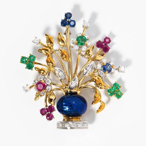 Nardi Farbstein Blumenbrosche Broche fleur en pierre de couleur Nardi  Italie. S…