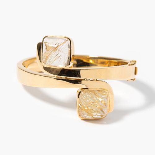Rutilquarz Armreif Bracelet en quartz rutile  Or jaune 750. 2 cristaux de quartz…