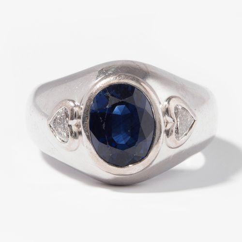 SAPHIR DIAMANT RING Bague en saphir et diamant  Bucherer. Or blanc 750. Bague à …